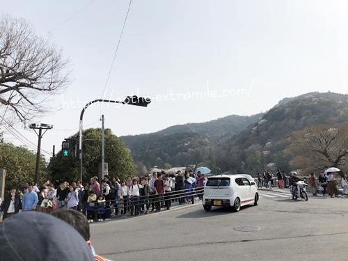 嵐山 渡月橋 桜 混雑
